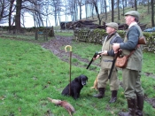 image shows Nigel Hirst and a friend shooting in the countryside
